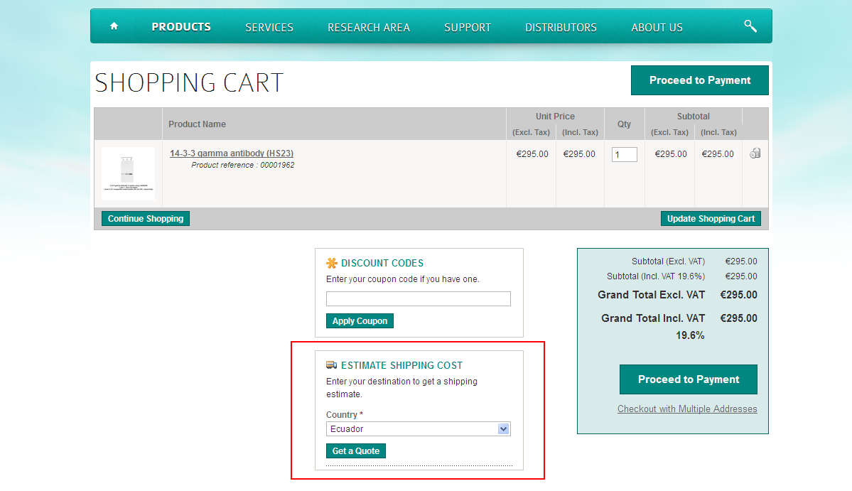 Estimate your shipping fees